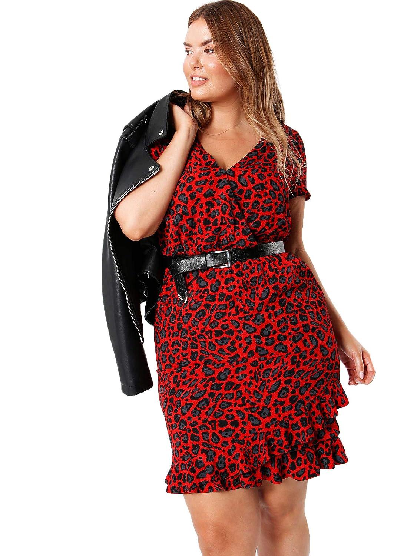 034ac3f9cc Lovedrobe Koko Women s Red Leopard Print Dress Ladies Plus Size 16-26   Amazon.co.uk  Clothing
