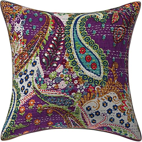 Amazon.com: Stylo Culture Ethnic Sofa Throw Pillow Cover 16x16 Floral  Kantha Purple Printed 40x40 cm Home Decor Accent Pillowcase Cotton Paisley  Square Cushion Cover | 1 Pc: Home & Kitchen