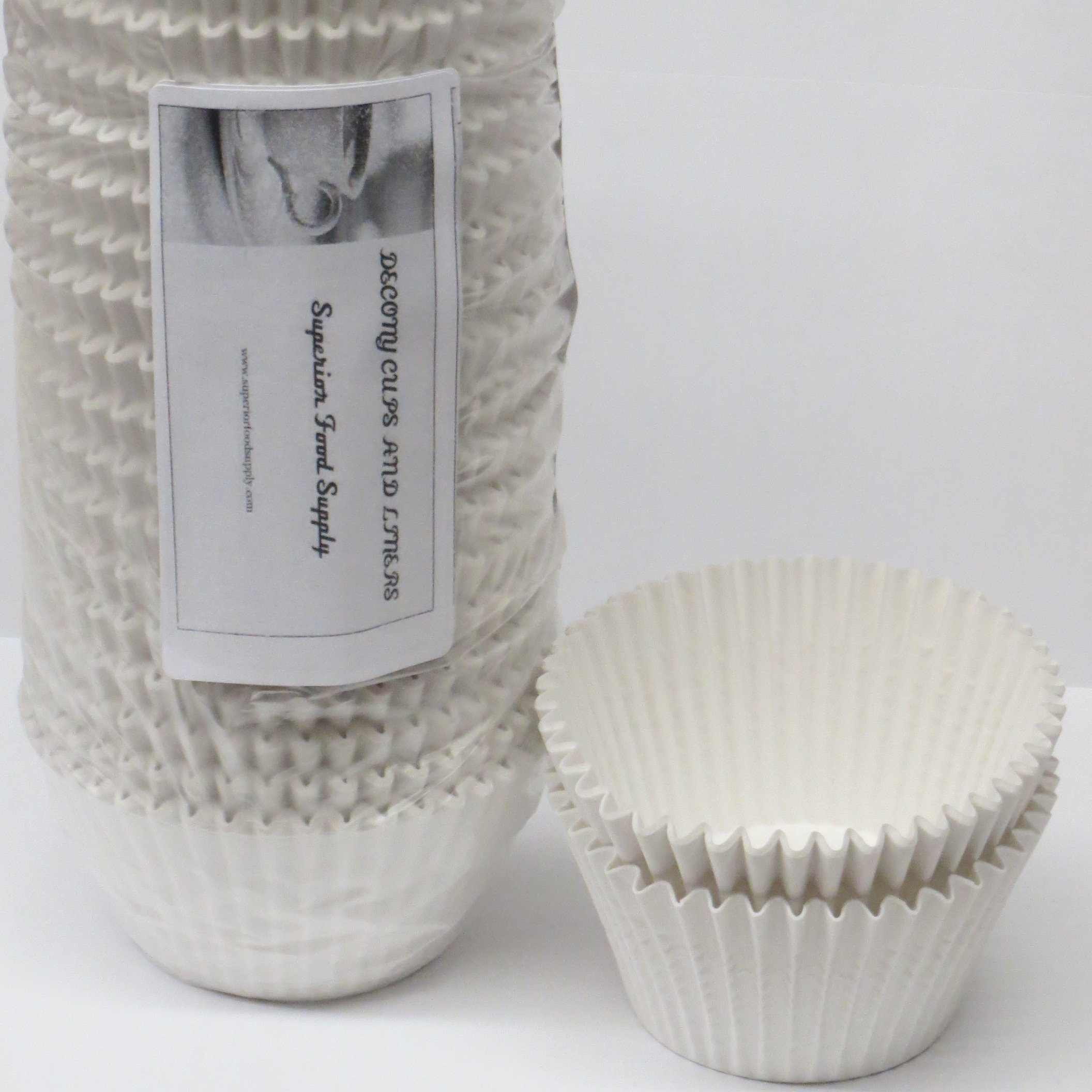 Decony White Jumbo Cupcake Muffin Baking Cup Liners size - 2 1/4'' x 1 7/8'' = 6'' - appx. 500 pack