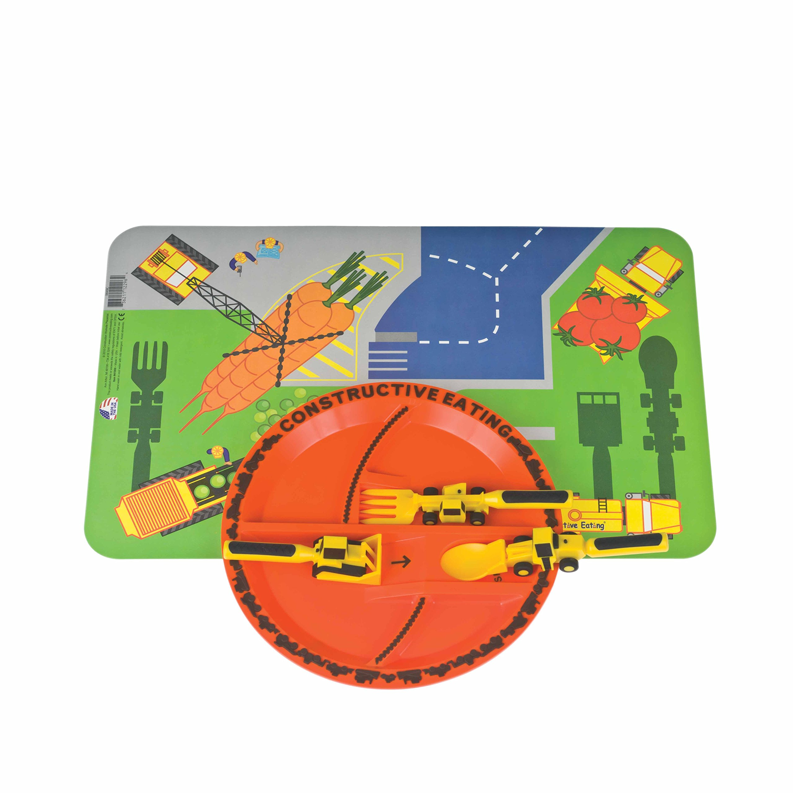 Constructive Eating Construction Combo with Utensil Set, Plate, and Placemat for Toddlers, Infants, Babies and Kids - Flatware Set is Made with FDA Approved Materials for Safe and Fun Eating