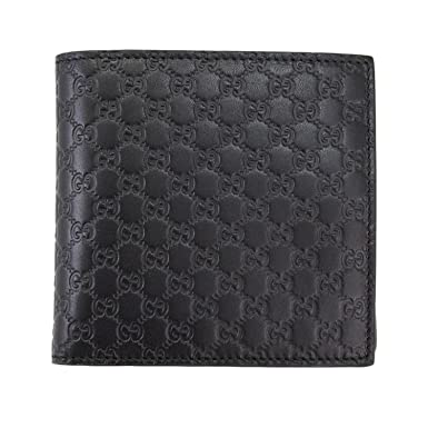 e072ddcbf7f2 Image Unavailable. Image not available for. Colour: Gucci Men's Black Micro Guccissima  Leather Bi-fold Wallet 150413 Bmj1n