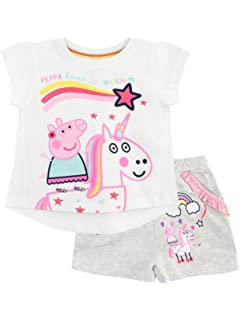 Peppa Pig Girls Unicorn Top and Shorts Set