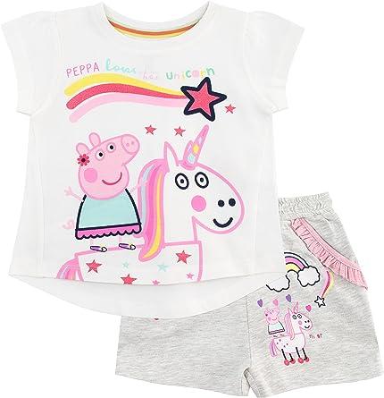 Peppa Pig Conjunto de Top y Shorts para Niñas Unicornio Multicolor ...