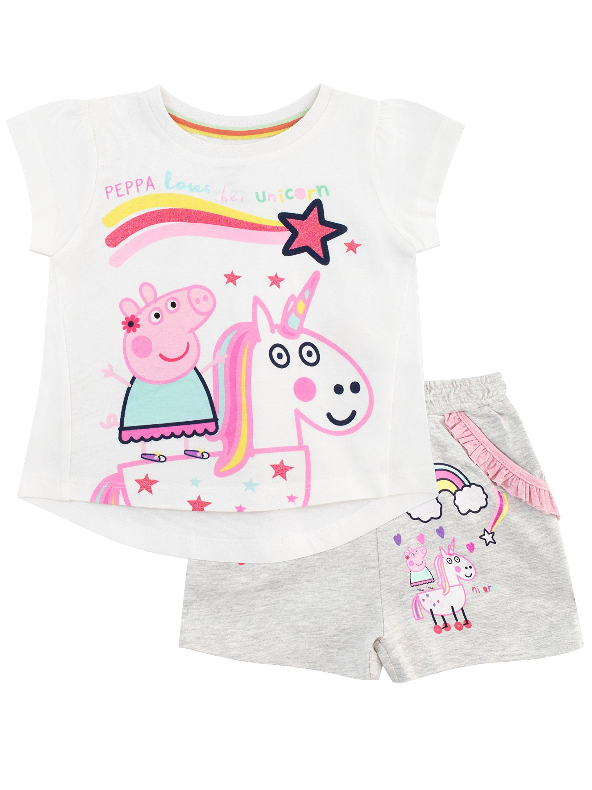 Peppa Pig Girls' Unicorn Top and Shorts Set Size 4 Multicolored
