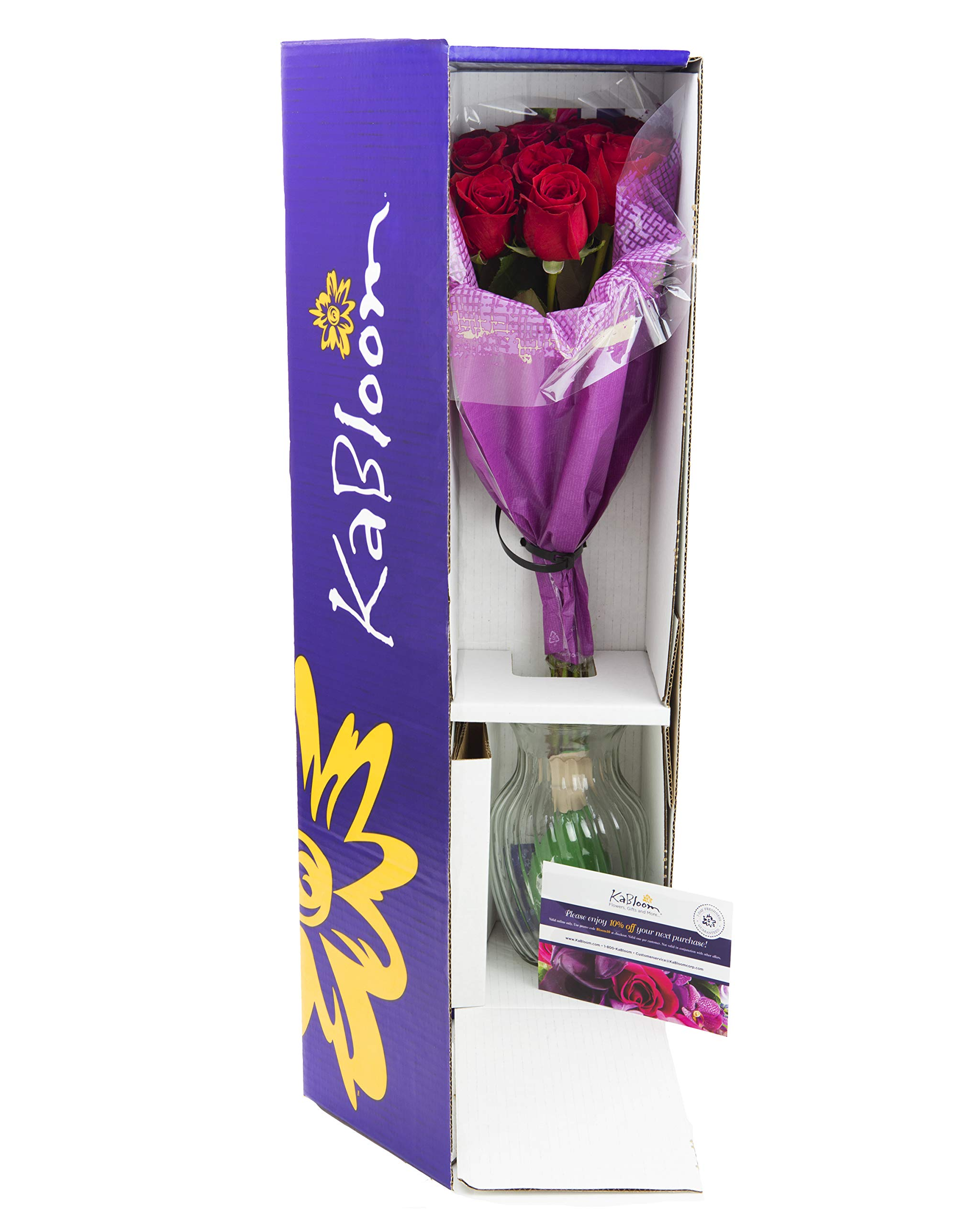 KaBloom The Romantic Classic Bouquet of 12 Fresh Red Roses (Farm-Fresh, Long-Stem) with Vase by KaBloom (Image #2)