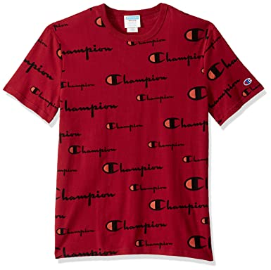 4734d90f5460 Champion LIFE Men's Heritage Tee, Multi Scale Script/Cherry Pie, Small