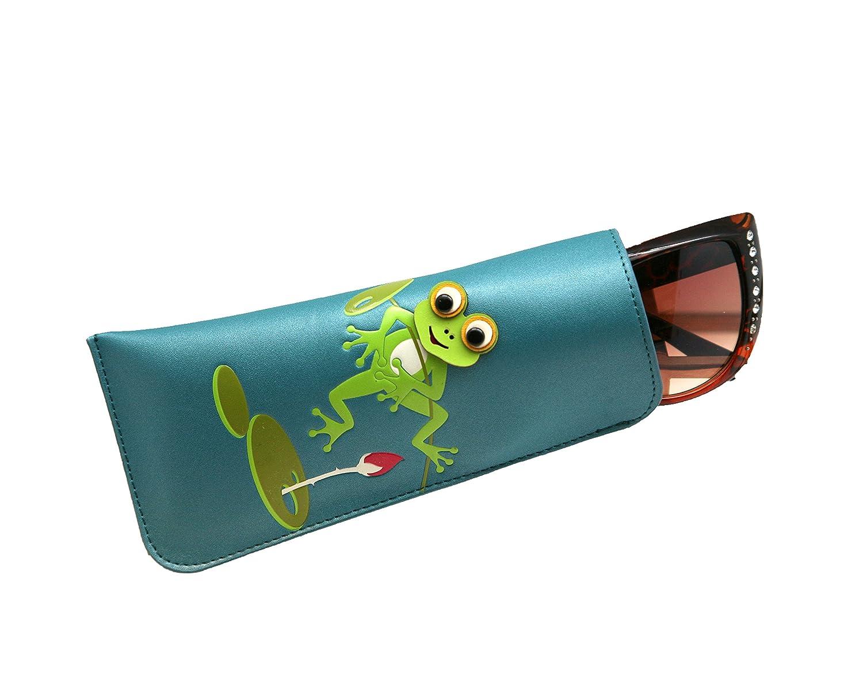 Custodia MENKAI per occhiali da sole e lettura disegno rana fiore Blu Pavone 58kVm