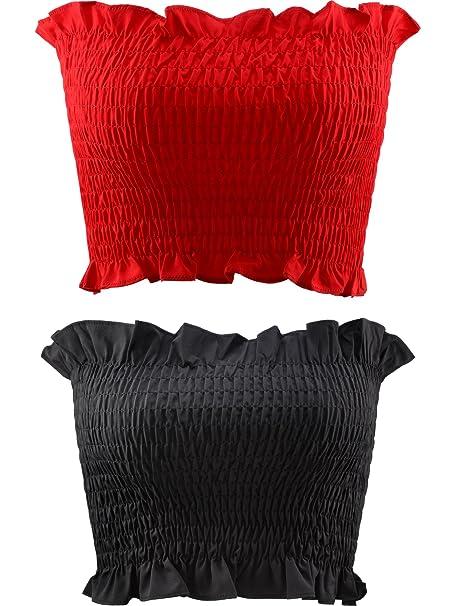2 Piezas de Banda de Sujetador sin Tirantes Tubo Elástico de Mujeres Camisa Corta (Rojo