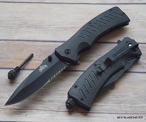 MASTER USA BLACK FIRE STARTER FLINT SPRING ASSISTED KNIFE