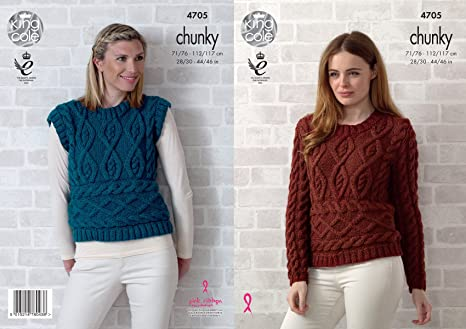 Amazon Com King Cole Womens Chunky Knitting Pattern Ladies Cable