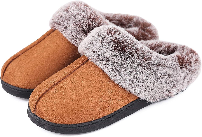 Women's Classic Suede Memory Foam Slippers Anti-Skid Scuff with Warm Faux Fur Collar