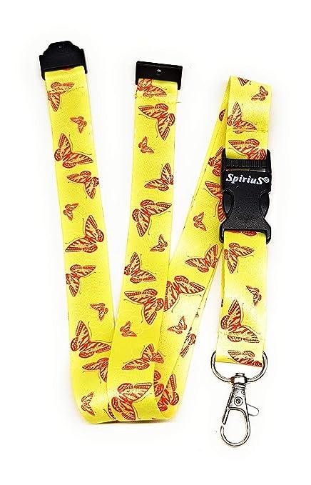 Spirius - Correa de cuello para tarjetas de identificación y llaves, diseño de mariposas, color Yellow Red