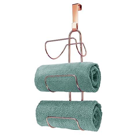 mDesign Toallero sin taladro para colgar – Estantería de baño en metal con 3 soportes –