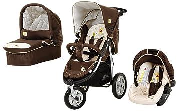 Hauck 312049 Viper Trioset - Carrito de 3 ruedas convertible, incluye capazo y silla de coche (grupo 0+), color marrón y beige: Amazon.es: Bebé