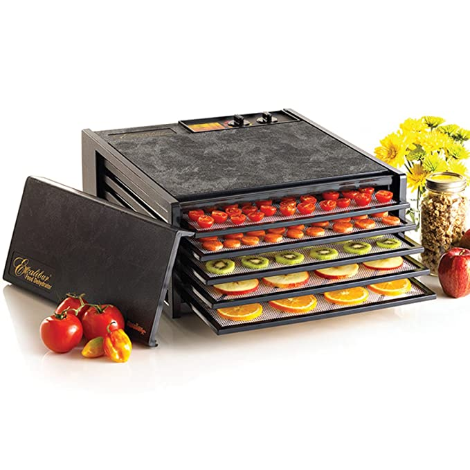 Excalibur 3526TB Electric Food Dehydrator with Temperature Settings and 26-hour Timer Automatic Shut Off for Faster and Efficient Drying Includes Guide to Dehydration Made in USA, 5-Tray, Black