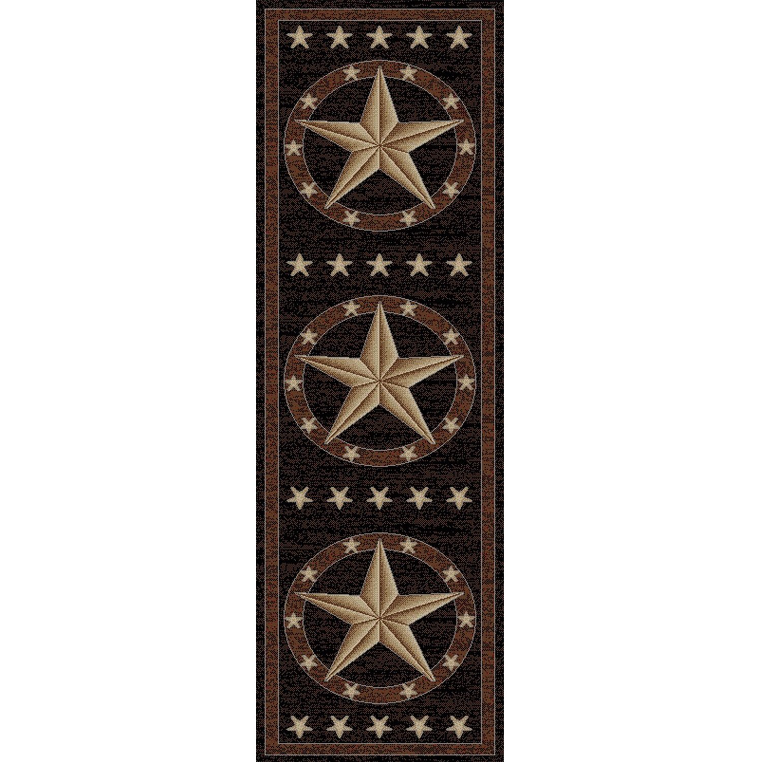 Rustic Western Texas Star Pattern Area Rug, Featuring Geometric Revolving Stars Themed, Runner Indoor Hallway Doorway Living Area Bedroom Cabin Carpet, Modern West Country Style, Tan, Size 2'3 x 7'7