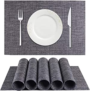BETEAM Placemats, Heat-Resistant Placemats Stain Resistant Anti-Skid Washable PVC Table Mats Woven Vinyl Placemats, Set of 6(Dark Gray)