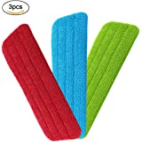 3 Pack Mop Refill Mop Replacement Cleaning Pads, URAQT Microfibre Spray Reveal Mop Refill Cloth Mat Duster, Wet/Dry for Home and Office