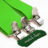 "Green Women Suspenders. 1"" Y Back with Silver Metal Clips. Adjustable"