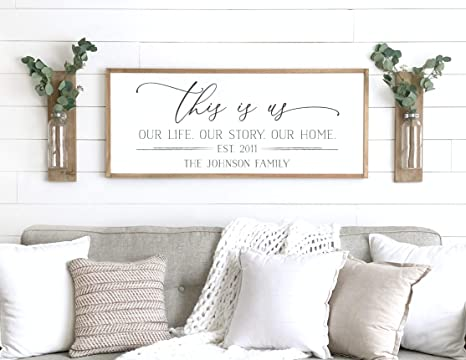 Amazon.com: Framed Wooden Sign, Family Name Sign, This is Us ...