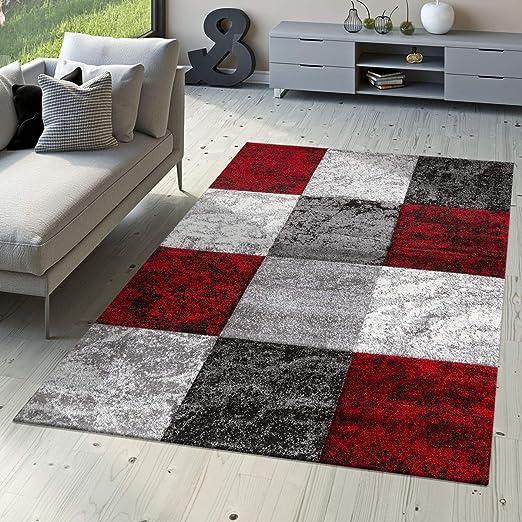 Tapis De Designer Valence Moderne Aspect Marbre Carreaux Chiné Rouge Gris  Blanc, Dimension:120x170 cm