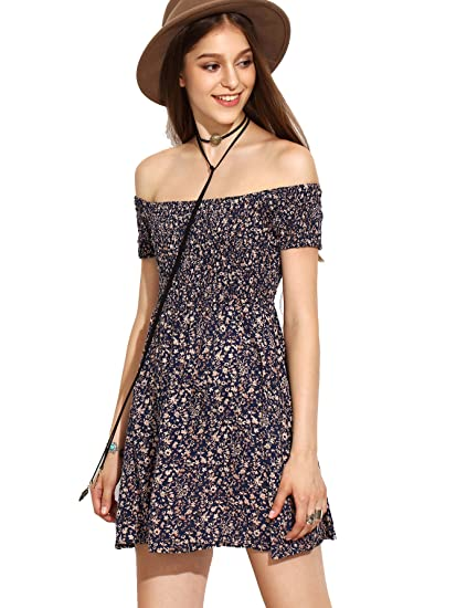 8fc81dd4bb6d SheIn Women's Vintage Off Shoulder Short Sleeve Floral Print Flare Mini  Dress Large Multicolor Navy at Amazon Women's Clothing store: