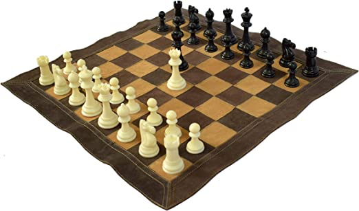 Wigano 19X19 Vintage Roll-Up Leather Tournament Chess Set with Two Extra Queens, Brown