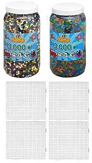 Hama Perline Set 6pezzi 211–66Voll Ton Dose + 211–54Glitter + 4piastre di 234Perle Trasparente (26.000)