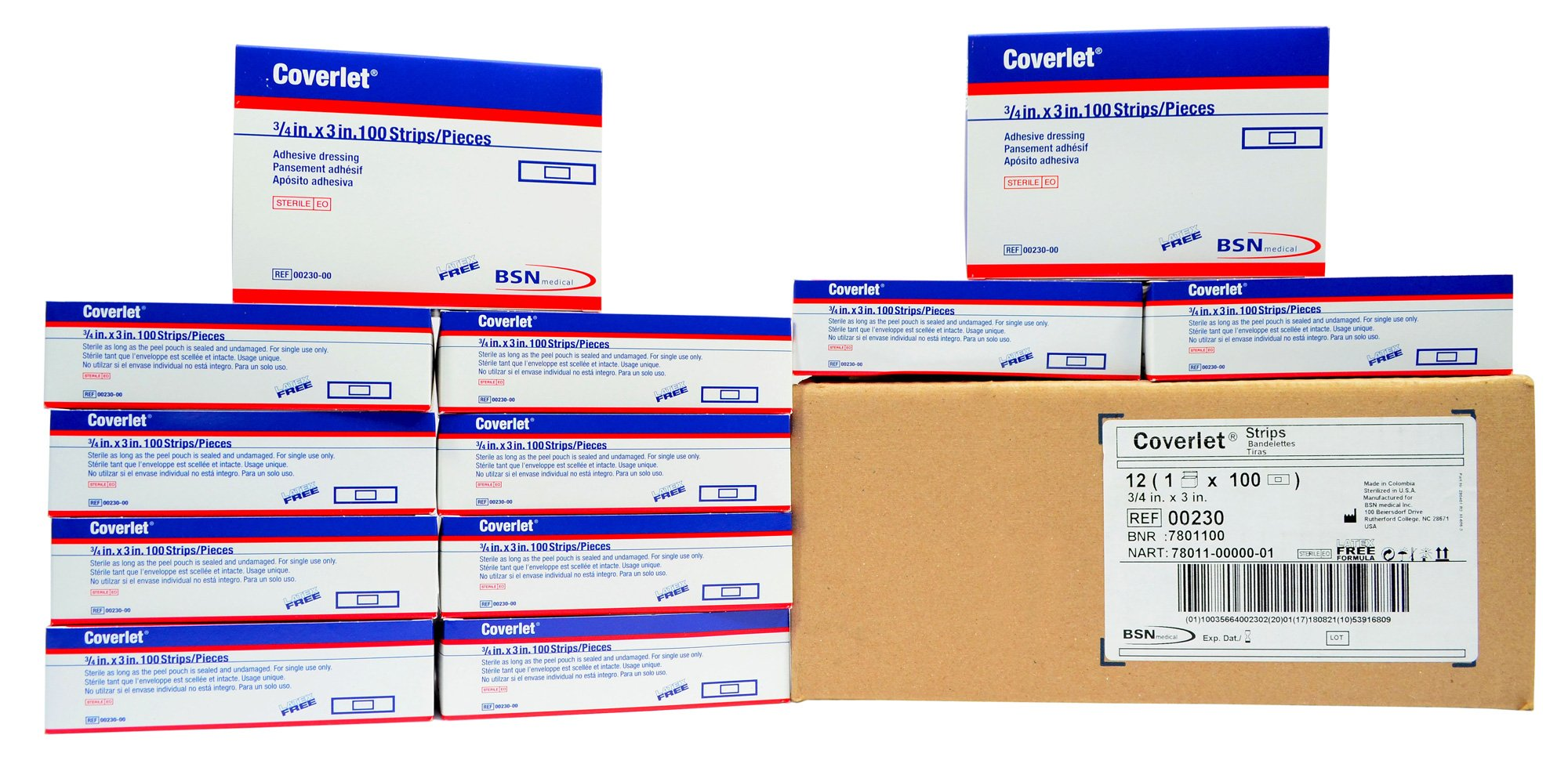Coverlet 3/4'' x 3'' Fabric Adhesive Bandages - Case of 1200 by Coverlet