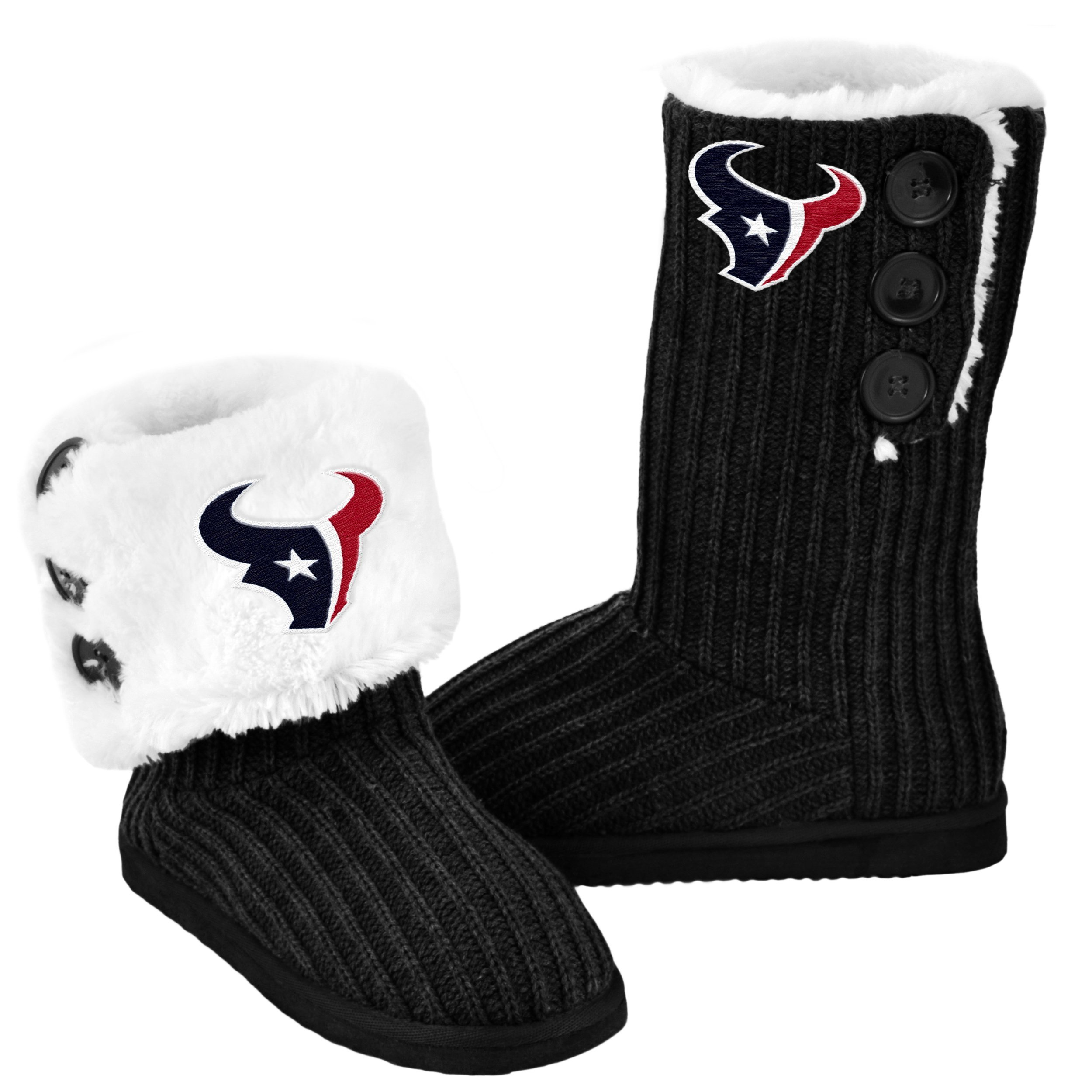 Houston Texans Knit High End Button Boot Slipper Medium by FOCO