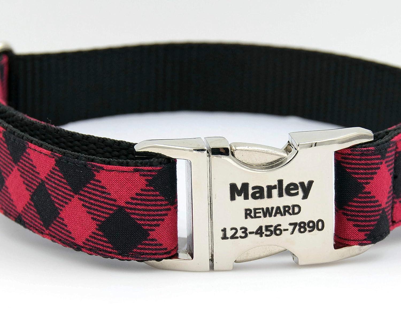 Red and Black Buffalo Check Engraved Dog Collar
