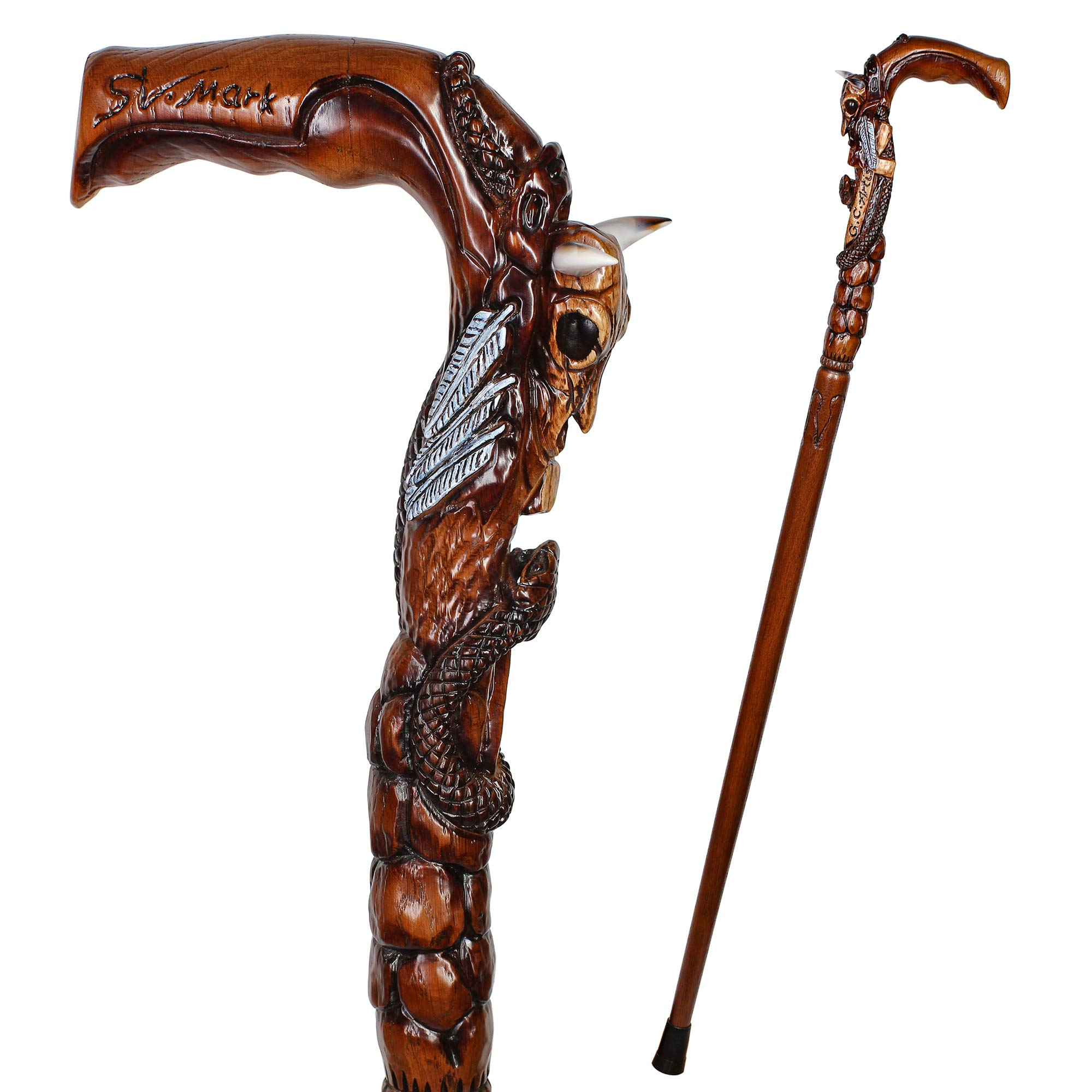 GC-Artis Snake & Bull Skull Walking Stick Wooden Walking Cane with American Buffalo Cow Horns Hand Carved Crafted Handle 36'' for Men Women White