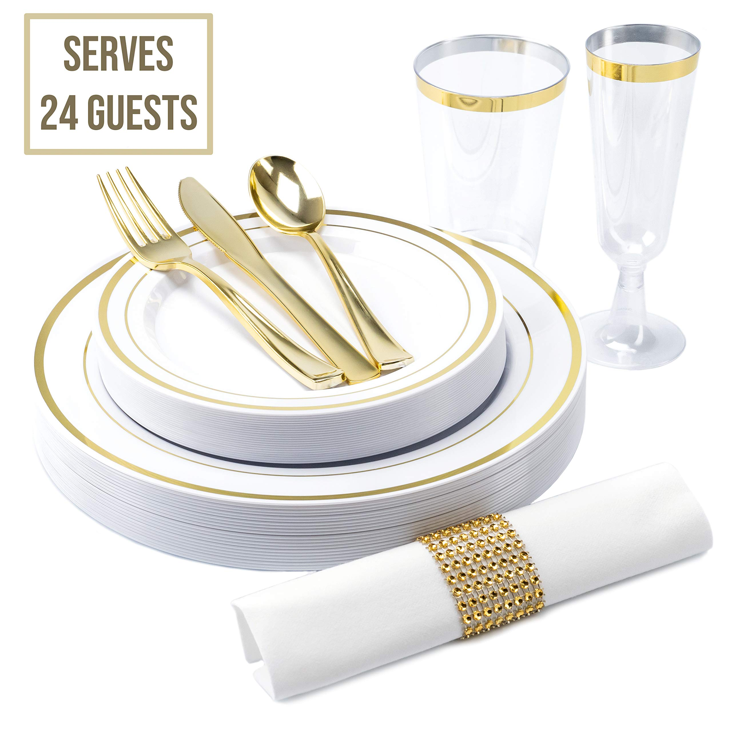 Disposable Fancy Dinnerware Set 216pcs - TrueLook Tableware! 24 Cups, Flutes, Napkins, Napkin Rings and Gold Plastic Silverware and 48 White and Gold Plastic Party Plates for  Elegant Dinner Occasions by Aynat Fun