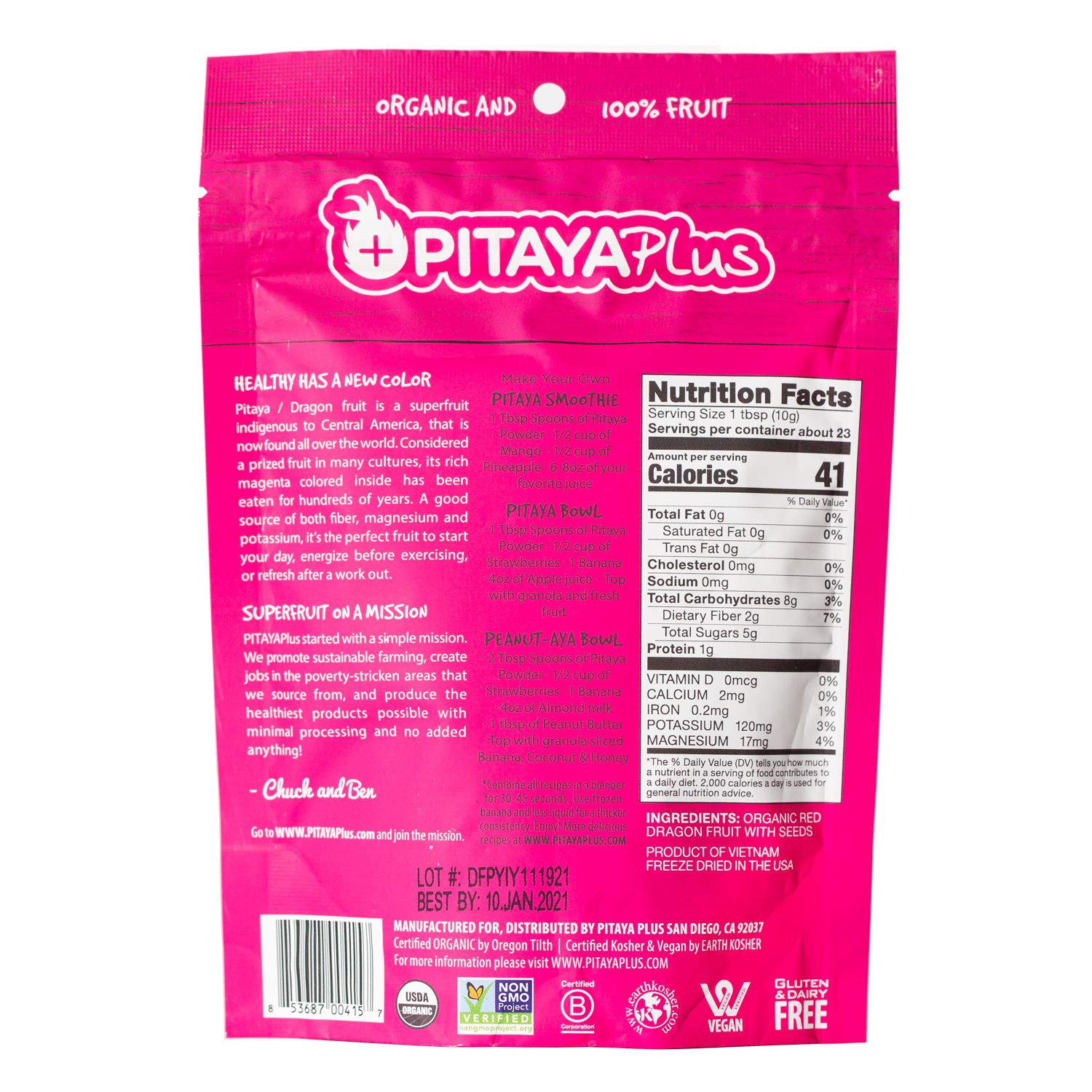 Pitaya Plus Freeze Dried Red Dragon Fruit Powder Organic. 4 Ounces of 100% Dragon Fruit for the Brightest Pink Rceipes. USDA and Oregon Tilth Organic, Non-GMO, Earth Kosher, Vegan Verified, B-Corp. by Pitaya Plus (Image #2)