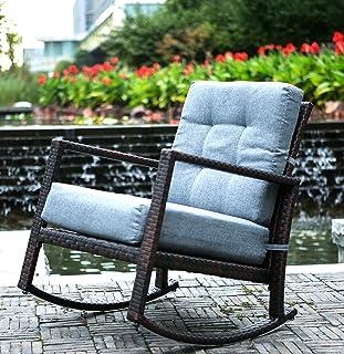 amazon com sundale outdoor wicker rocking chair rattan outdoor rh amazon com garden furniture rockers outdoor wicker furniture rockers