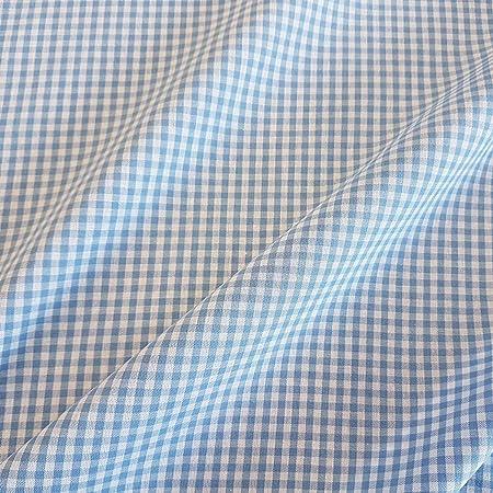 Stof Tela por Metros Vichykaro Vichy Azul Claro Blanco Cuadros algodón Tela 4 mm: Amazon.es: Hogar