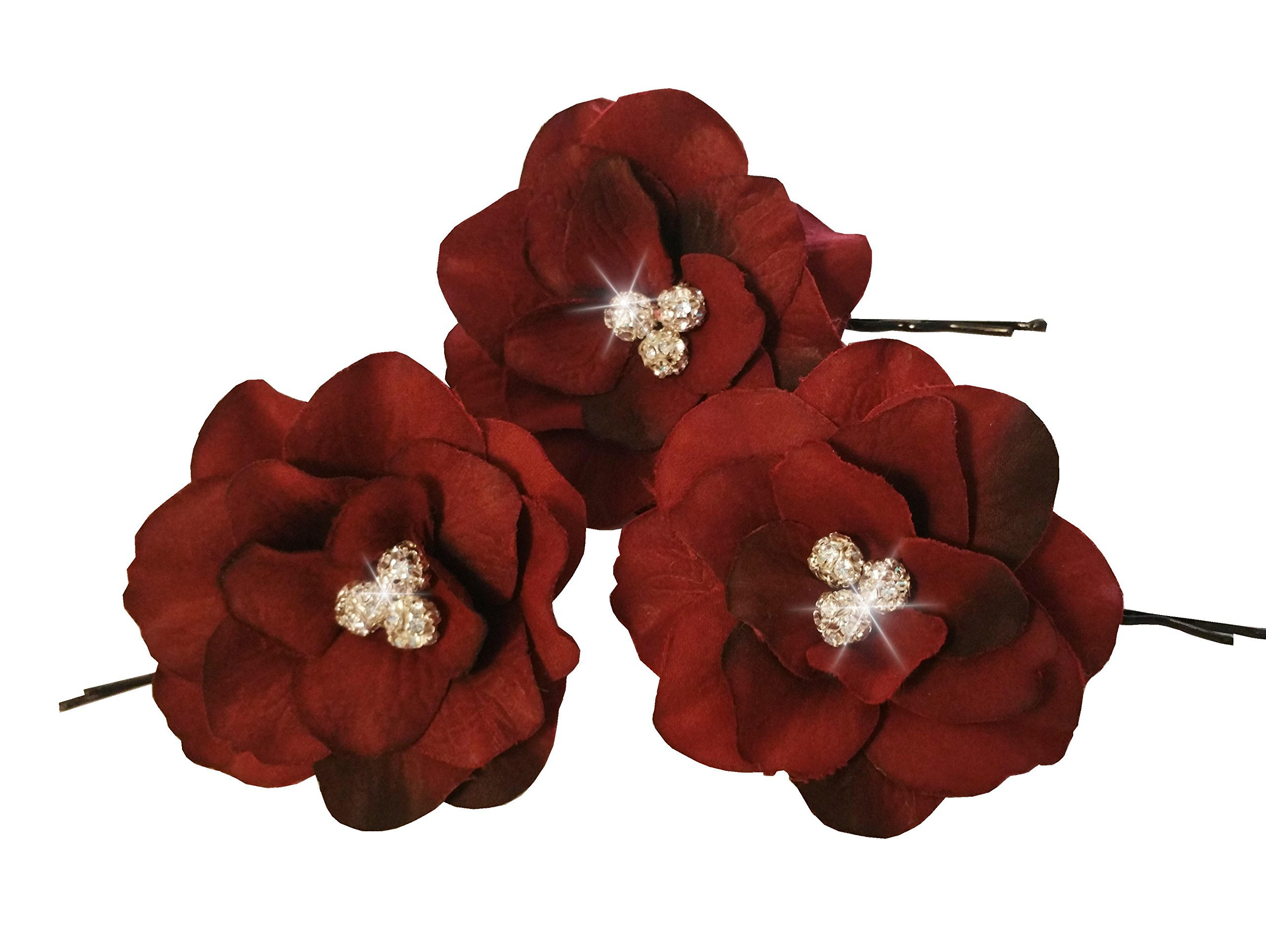 Olini Handmade Set of 3 Burgundy Flower Hair Pins with Rhinestones, Bridesmaids Hair Pins, Handcrafted Pins