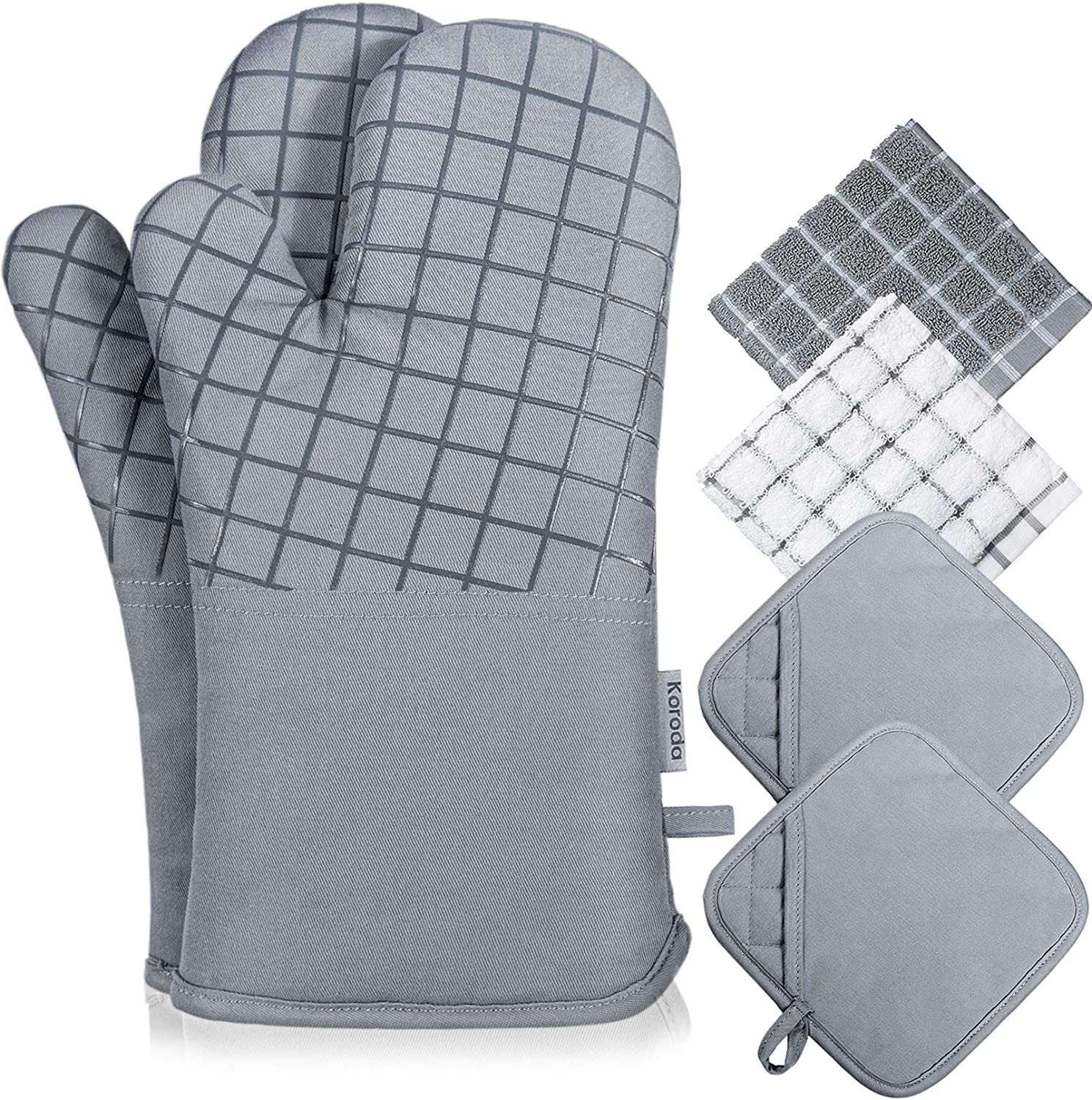 Koroda Oven Mitts and Pot Holders Sets: 550°F High Heat Resistant Oven Mitts with Kitchen Towels Thick Cotton Oven Gloves with Non-Slip Silicone for Cooking and Baking (6Pcs, Grey): Kitchen & Dining