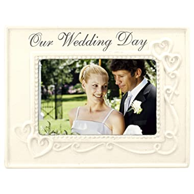Malden International Designs Glazed Ceramic With Silver Accents Our Wedding Day Picture Frame, 4x6, White