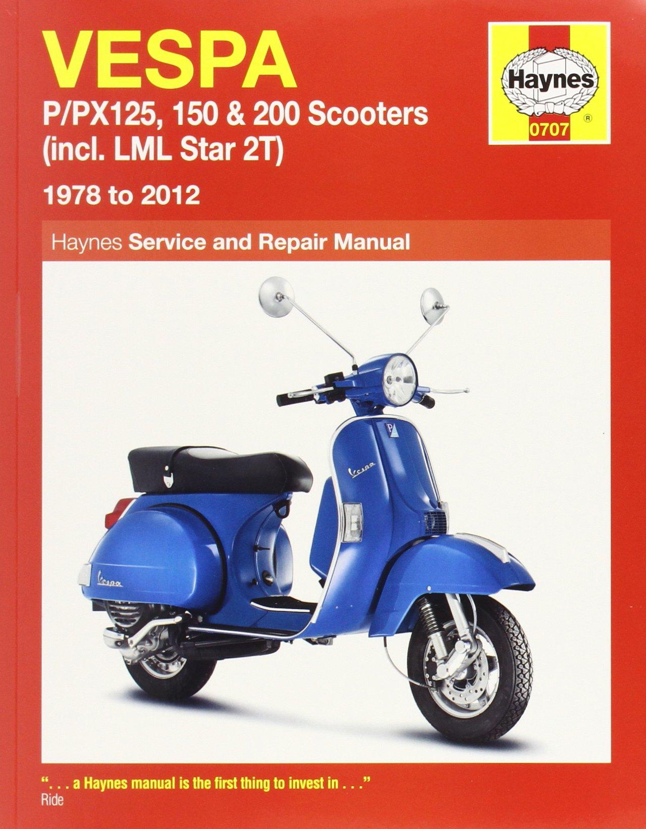 Vespa P/PX125, 150 & 200 Scooters Inc LML Star 2T Service & Repair Manual:  1978-2012 (Haynes Service and Repair Manuals): Amazon.co.uk: Pete Shoemark,  ...