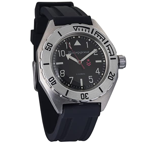 Vostok KOMANDIRSKIE automático reloj de pulsera militar ruso WR 100 M correa de resina # 650540
