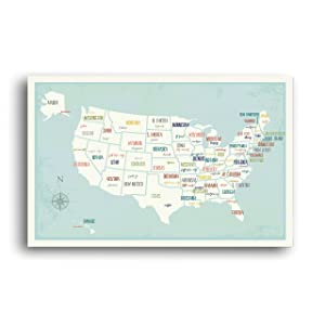 USA Wall Map Art Print, 14x11 Inches, Kid's USA Wall Map,Children's Room Decor, Gender Neutral Nursery, Travel Nursery Decor,United States of America Map