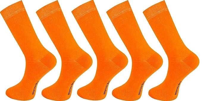 5 pares de calcetines lisos Mysocks®, de algodón cepillado, para hombre, color naranja: Amazon.es: Ropa y accesorios