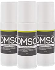 3 Bottle Special, 99.995% Non Diluted, Low Odor Pha rma Grade DMSO (Dimethyl Sulfoxide) 3oz Roll on BPA FREE