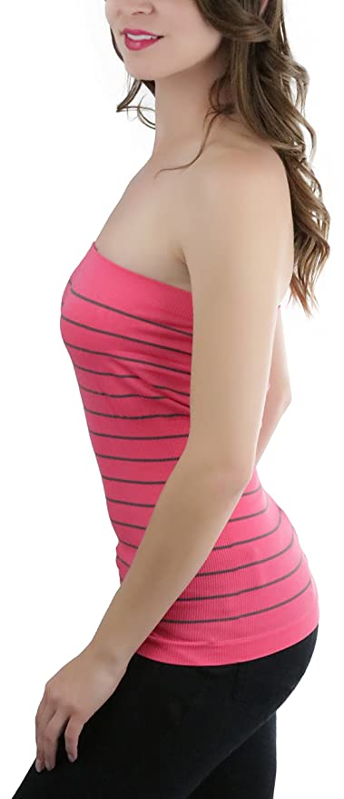 a8e2c825cf ToBeInStyle Women s Seamless Striped Tube Top - Coral - One Size at Amazon  Women s Clothing store