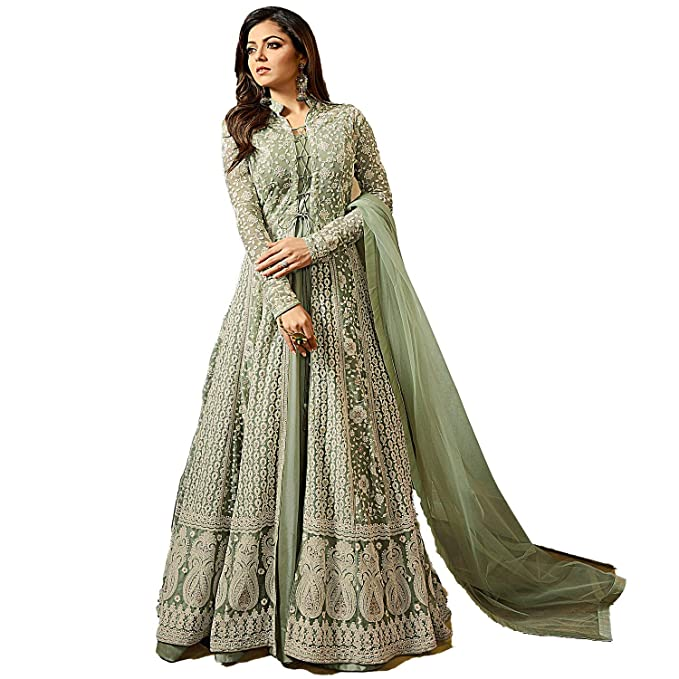 000c19dd6dd9 ... Overseas Women's Aquagreen Jacket Style Heavy Embroidered Wedding  Anarkali On Net Fabric (DE1706Aquagreen_Free Size): Amazon.in: Clothing &  Accessories