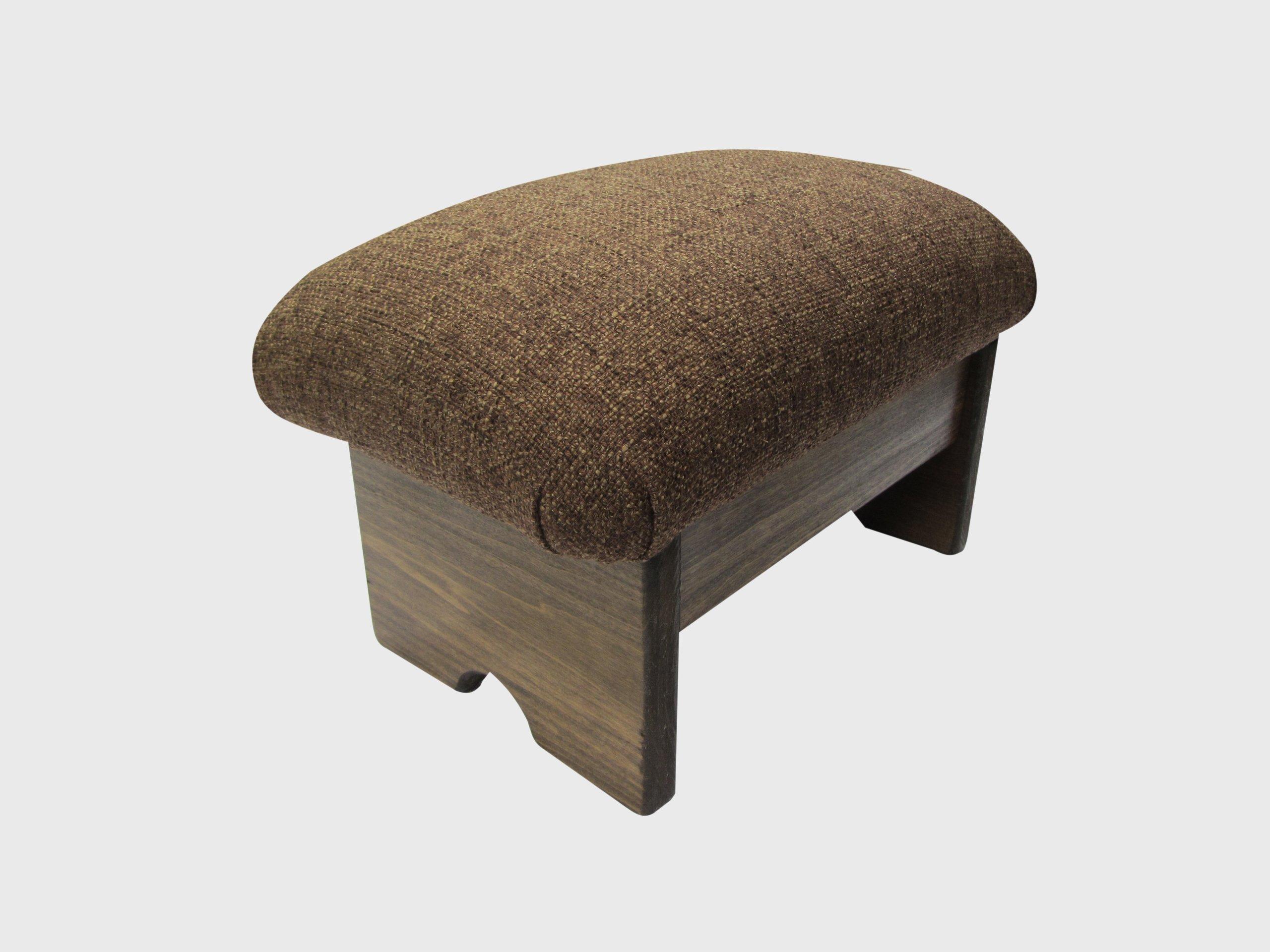 KR Ideas Padded Foot Stool Solid Fabrics 9'' Tall, Walnut Stain (Made in The USA) (Desert Sand - Walnut)