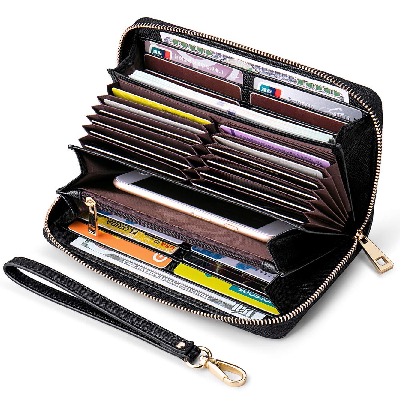 RFID Blocking Womens Wallets Credit Card Holder Wallet for Women Large Zipper Black Leather Travel Wristlet Clutch Wallets for Women