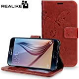 Samsung S6 Cover, REALIKE™ {Imported} Premium Leather Wallet Flip Case For Samsung Galaxy S6 (Royal Style Series - Brown)
