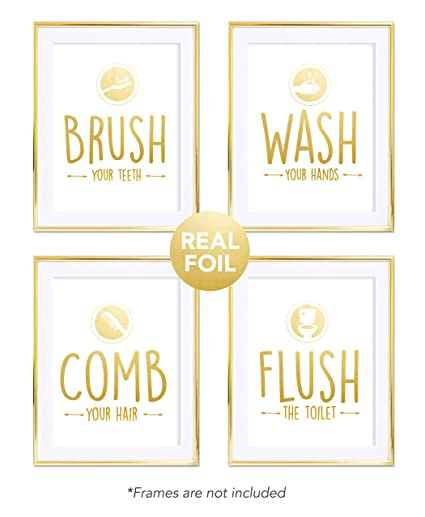 bathroom quotes 4 set rules sayings art prints gold foil posters home wall - Bathroom Quotes
